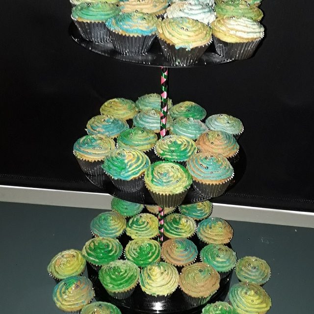 Lumo Disco Cup cakes on LP cup cake stand